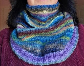 Knitting Pattern - Cowl Shawl Neck Warmer - PDF Instant Download - Gradient Merino Wool - DK Sport Weight Yarn