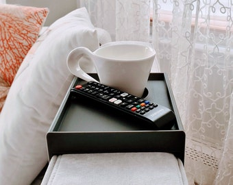 Extended Square/Round Cup Holder Tray w/ accessories, compatible with Lovesac Sactionals