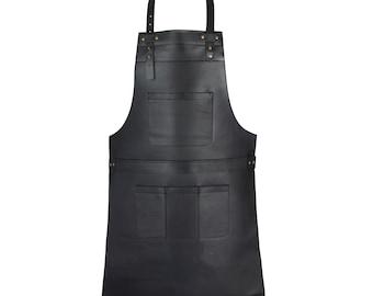 Black Top Grain Leather Apron Butcher Apron -Cook Apron -BBQ Apron -Blacksmith Apron - Gift Apron