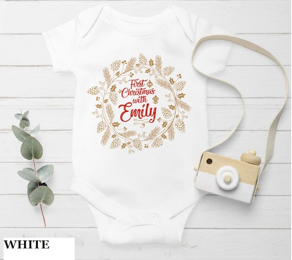 Pink Sleigh Christmas TreemBaby One-Piece  Custom Baby Girl with Monogram for Infant Newborn Clothing Personalized One-Piece 1st Gifts
