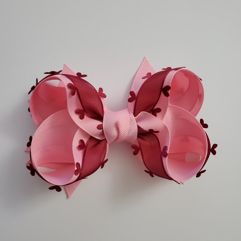 Valentines Day Hairbow Pink and Dark Red hairbows or hearts bow