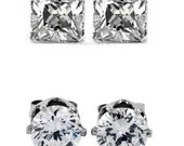 1 Pair Clear CZ Cubic Zirconia Magnetic Clip On Brilliant Round Cut or Square Cut Stud Earrings for Women Men 4mm (small) to 10mm (large)