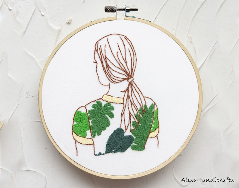 Adult Craft Kit-6 Inch DIY Female And Plant Hoop Art Beginner Embroidery Kit Modern Hand Embroidery Starter Kit