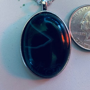 Oval Pendant in Silver Alloy Setting and Necklace Green Banded item 489 Agate