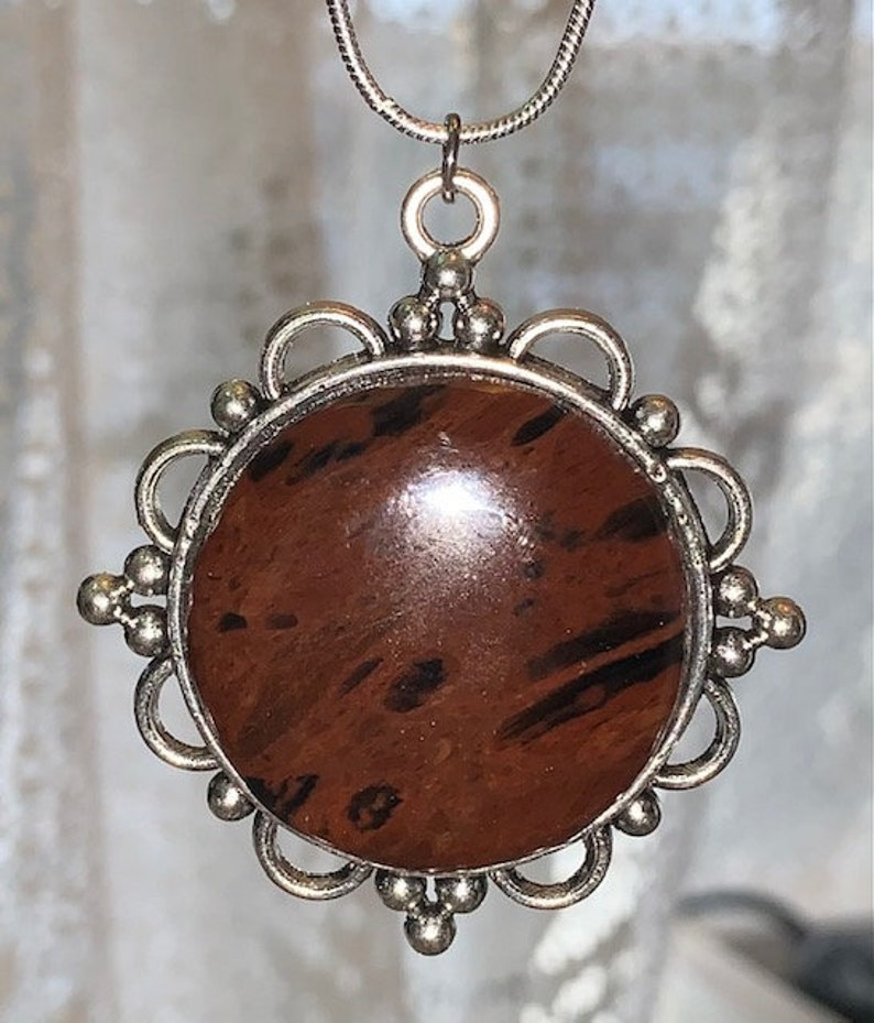 Item 633 Mahogany Obsidian Round Pendant with Silver Alloy Necklace and  Setting