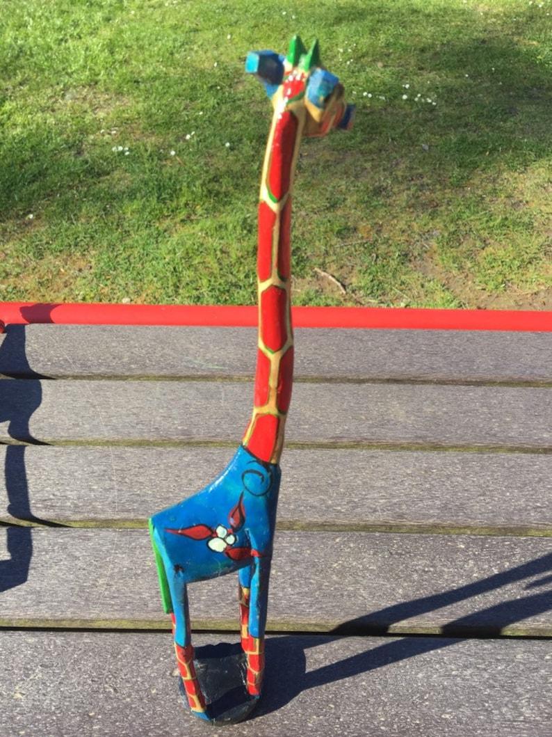 Wooden Giraffe Painted Jacaranda Wood- Lightwood- 18.5\u201d Tall, 3\u201d Wide