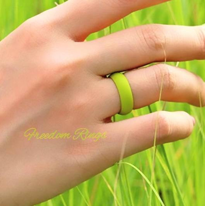 Silicone Ring Wedding Band for Women; Avocado Green