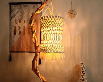 Boho Macrame Lampshade, Crochet Lampshade, Living Room Light shade, Bohemian Tapestry Hanging light, Macrame Pendant Lamp, Tassel Lampshade