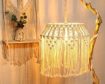 Macrame Chandelier Lampshade, Boho Home Decor, Living Room Lampshade, Bohemian Tapestry Hanging light, Macrame Pendant Lamp,Tassel Lampshade