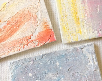 Small Square Abstract Paintings, Set of 3 Original Artwork On Canvas, Contemporary Wall Art, Minimalist Office Decor, Home Wall Decor