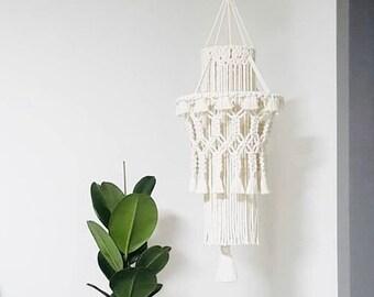 Big Boho Macrame Lampshade, Boho Home Decor, Living Room Lampshade, Bohemian Tapestry Hanging light, Macrame Pendant Lamp, Tassel Chandelier