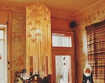 Square Macrame Lampshade, Living Room Lampshade, Bohemian Tapestry Hanging light, Boho Home Decor, Macrame Pendant Lamp, Tassel Lampshade