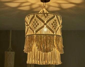 Boho Macrame Chandelier, Big Macrame Living Room Lampshade, Bohemian Tapestry Hanging light, Macrame Pendant Lamp, Wedding Tassel Lampshade