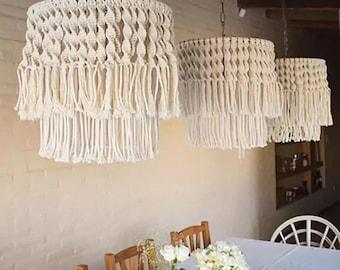 Boho Macrame Chandelier, Cotton Macrame Home Decor, Living Room Lampshade, Tapestry Hanging lamp, Macrame Pendant Light, Tassel Lampshade