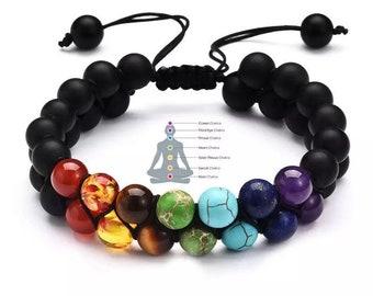 7 Chakra Healing Bracelet with Real Gemstones, Mala Meditation Bracelet, Double Layered Bracelet, Yoga Beaded Bracelet, Self Healing Stone