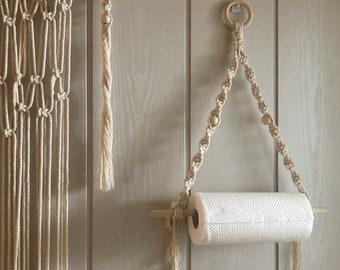 Handmade Macrame wall hanging paper towel holder, toilet tissue paper roll holder, Paper dispenser for boho bathroom kitchen decor