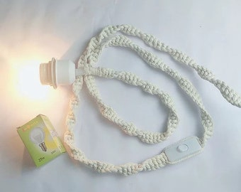 Handmade Macrame Lamp Cord with Light Bulb and Switch Button 180 cm 300 cm US Plug