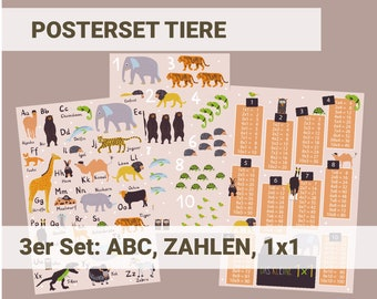 Animals Poster Set Children's Room ABC Numbers and 1x1 Learning for Boys and Girls Preschool, Kindergarten, Elementary School