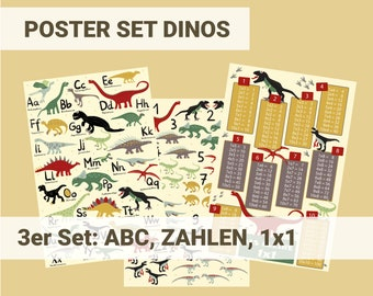 Dino Poster Set Children's Room ABC Numbers and 1x1 Learning for Dino Fans Boys Preschool, Kindergarten, Elementary School