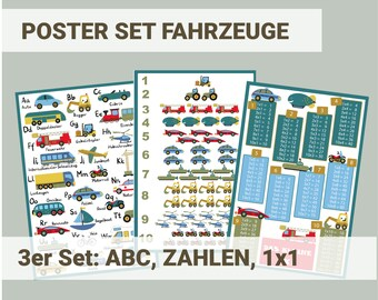 Vehicle Poster Set Children's Room ABC Numbers and 1x1 Learning for Boys Preschool, Kindergarten, Elementary School