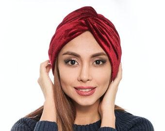 Red velvet Fire Brick turban / pre-tied head wrap / chemo gift/  Head wrap / Ankara headscarf / chemo hat / alopecia cap gift for her gift