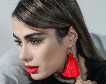 red tassel earrings mini tassel small tassel earring gold tassel earrings boho tassel earrings macrame earrings fall earrings gifts