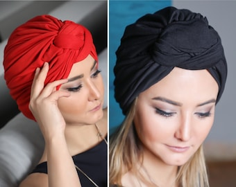 Turban Hat, Womens Hat, pre-tied, black Stretch Knot, red Turban Cap, chemo gift,  Head wrap, headscarf, chemo hat, alopecia cap, cancer hat