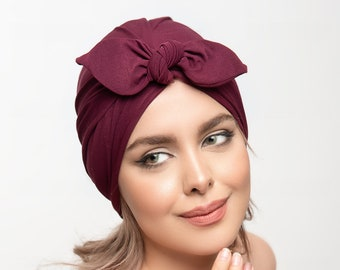 Turban Hat in colours - Stretch Turban Cap Knot, Womens Hat, pre-tied, chemo gift, Head wrap, black hat maroon alopecia cap, cancer hat gift