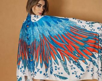 Eagle blue scarf wings cotton scarf women - wedding shawl handmade scarf wing scarf gifts hijab scarf women cotton shawl orange hair scarf