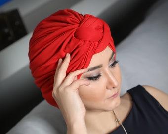 Turban Hat, Red Stretch Knot Turban Cap, Womens Hat, pre-tied, chemo gift,  Head wrap, hijab headscarf, chemo hat, alopecia cap