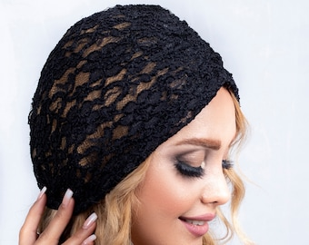 lace Turban Hat, Womens summer black Hat, pre-tied white Stretch turban, black gift chemo hat red alopecia cap cancer hat bride black Cap