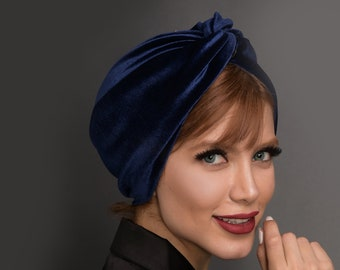 velvet turban hat in 7 colours, pre-tied head wrap, chemo gift, Head wrap, hijab headscarf, chemo hat, alopecia cap, hair cover gift for her