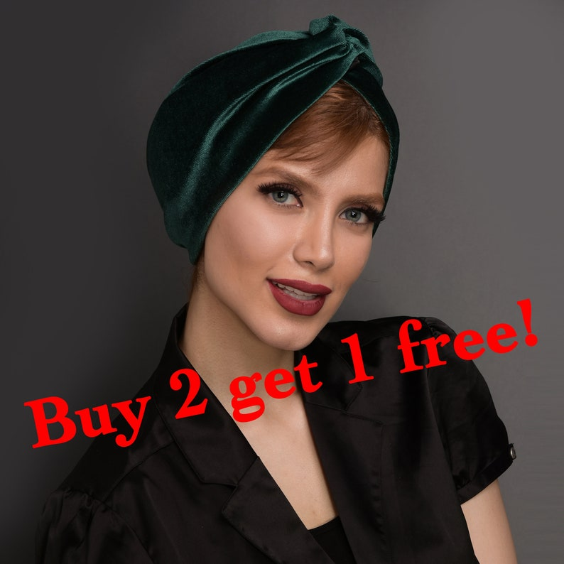 velvet turban hat in 7 colours turquoise pre-tied head wrap Green