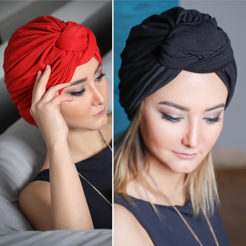 Turban Hat Womens Hat pre-tied black Stretch Knot red Black