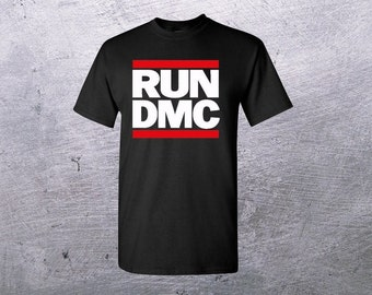 RUN DMC JAM MASTER JAY T-shirt Retro Logo Hip Hop Rap Rock White Men S-4XL New