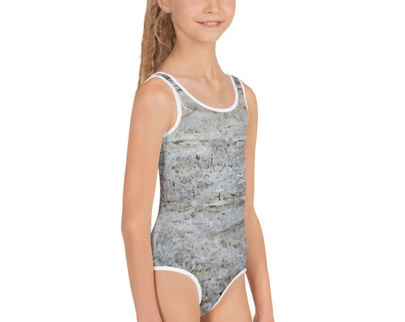 Grey Stone All-Over Print Kids Swimsuit