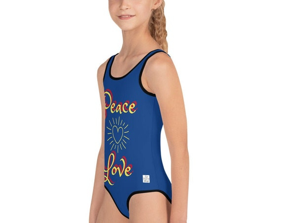 Love and Peace Design All-Over Print Kids Swimsuit