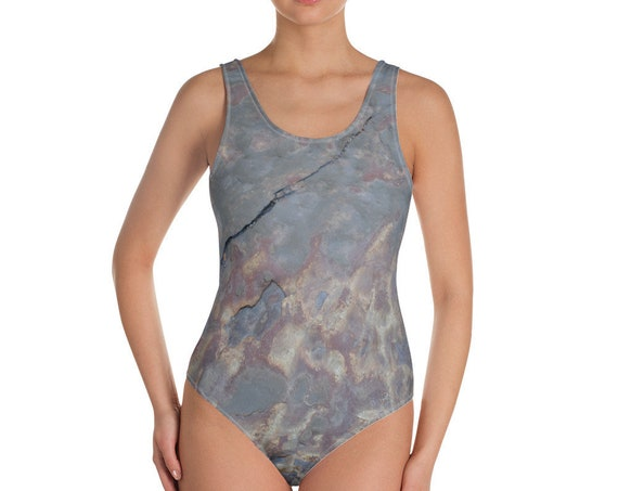Abstract Wet Rock Design Adult One-Piece Swimsuit