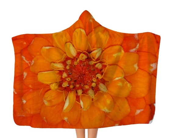 Orange Zinnia Flower Classic Adult Hooded Blanket