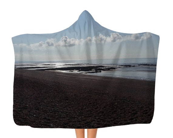 Premium Beach Scene Adult Hooded Blanket
