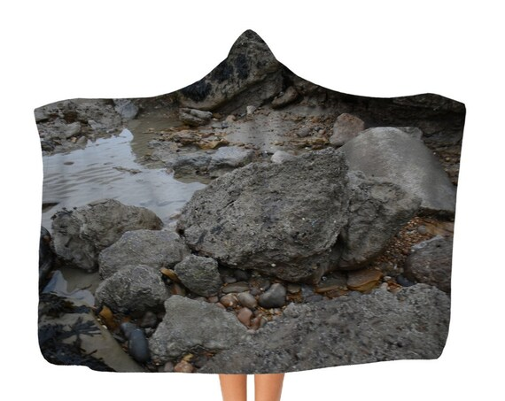 Classic Rocks and Rock Pools Adult Hooded Blanket