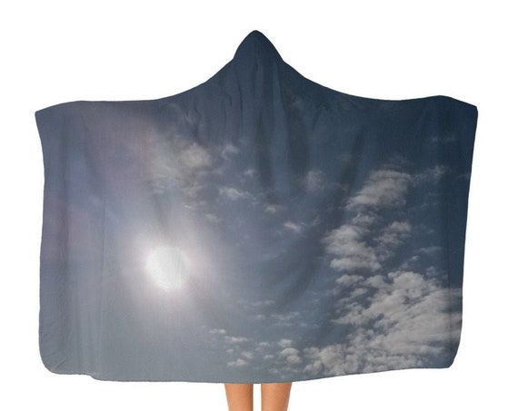 Classic Blue Sky and Clouds Adult Hooded Blanket