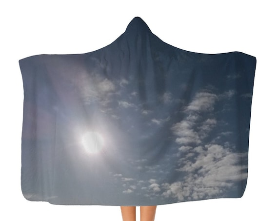 Premier Blue Sky and Clouds Adult Hooded Blanket