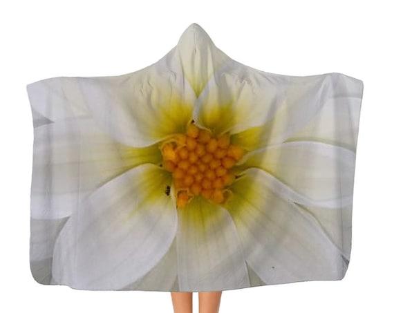White dahlia flower Classic Adult Hooded Blanket