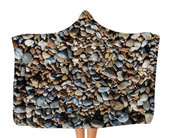 Pebbles on Beach Classic Adult Hooded Blanket