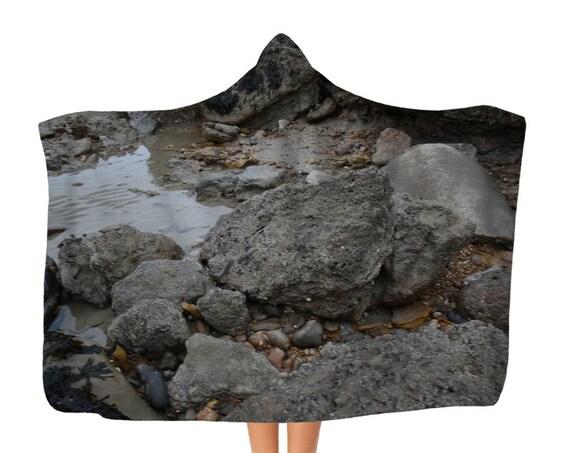 Premium Rocks and Rock Pools Adult Hooded Blanket