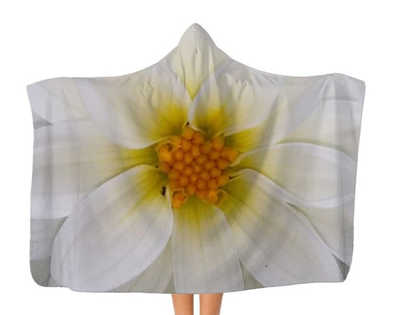 Premium White dahlia flower Adult Hooded Blanket