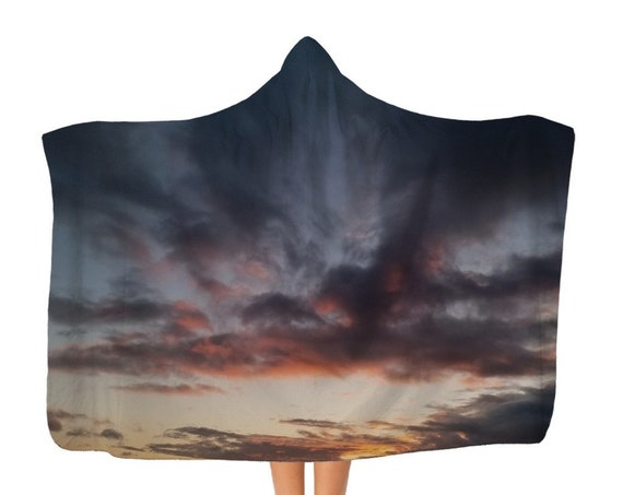 Premium Sunset over the Coast Adult Hooded Blanket