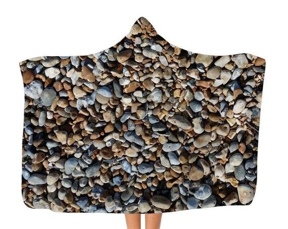 Premium Pebbles on Beach Adult Hooded Blanket