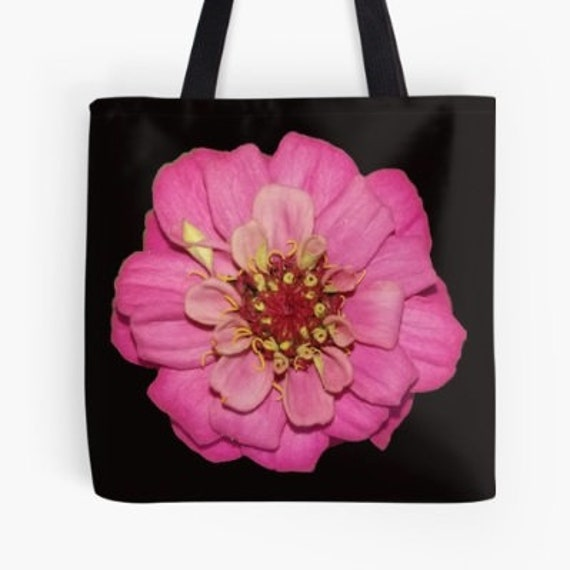 Tote Bag Pink Flower Head design double sided lined